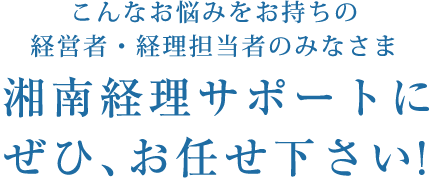 こんなお悩みをお持ちの経営者・経理担当者のみなさま 湘南経理サポートにぜひ、お任せください!